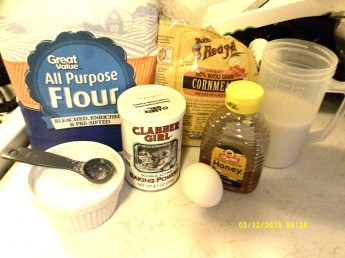 Flour, cornmeal, baking powder, kosher salt, egg, honey.