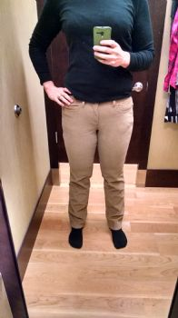 These size 6 pants look AWFUL, unlike the size 6 jeans, which not only are not as tight, but look FAR better.