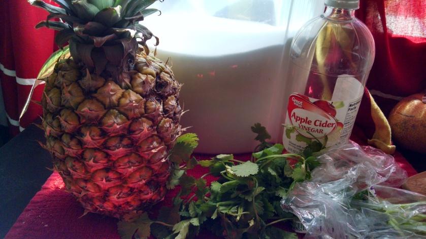 Pineapple Cilantro Shrub Ingredients