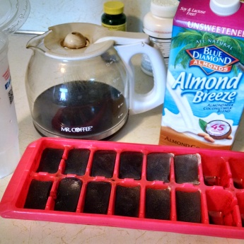 Ingredients! Coffee, coffee ice cubes, coconut almond milk.