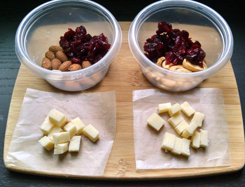 The waxed paper keeps the cheese from soggin' up your dried fruit.