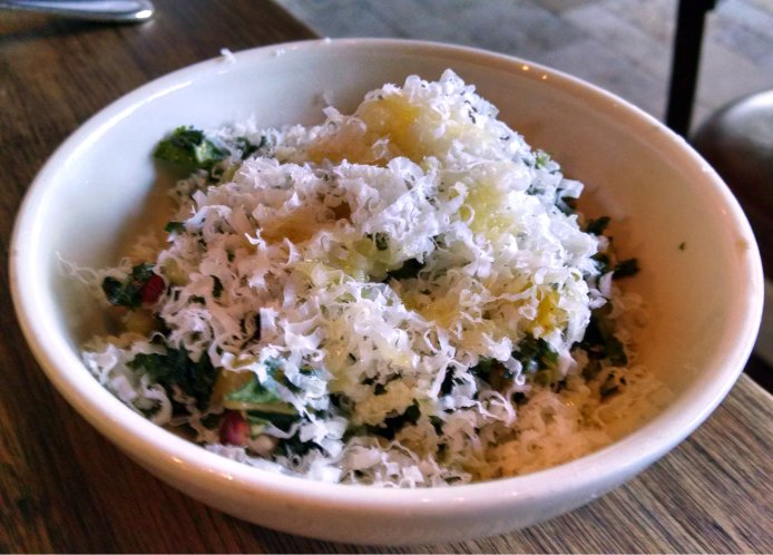 Walnut kale tabbouleh with pomegranate, apple and midnight moon cheese.