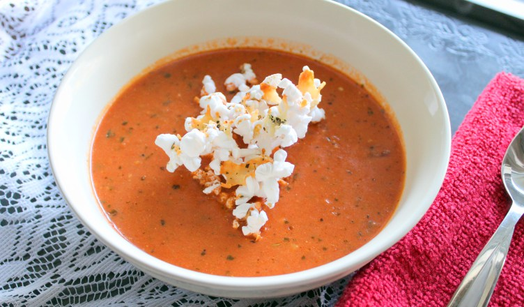 Recipe: Tomato Soup with Parmesan Popcorn – Blazing Caribou Studios