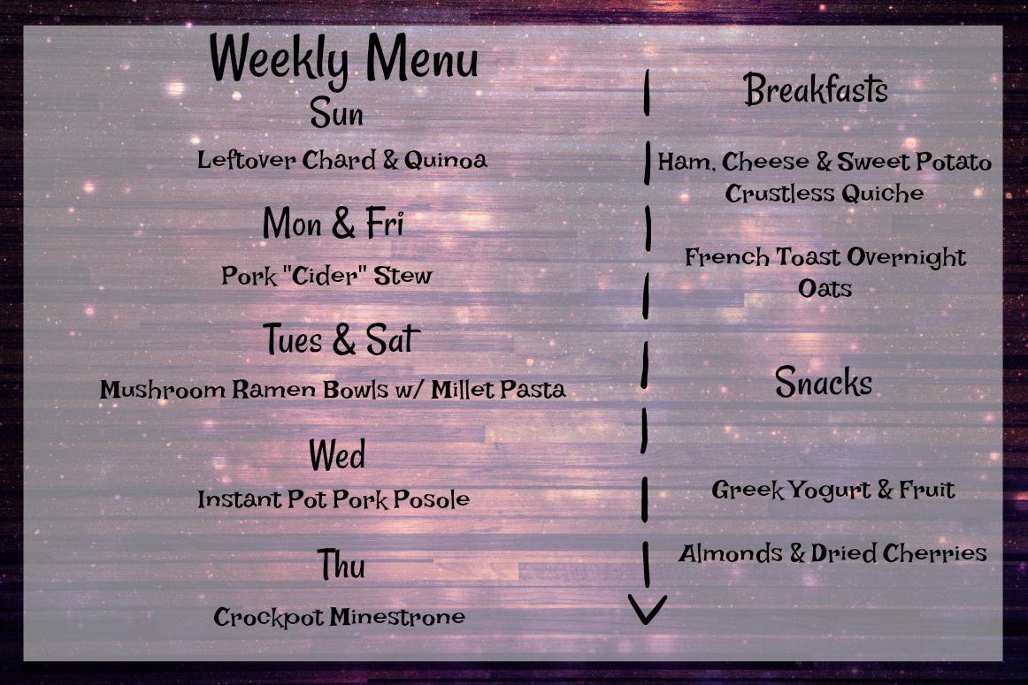 Weekly Menu: March 11-18,2018
